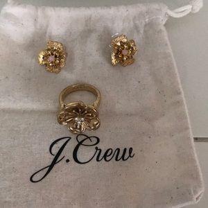 J Crew flower ring and earrings